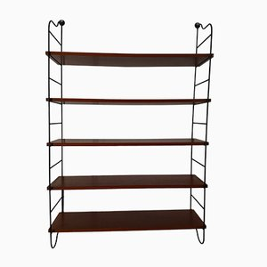 Mid-Century Mahogany Veneer and Lacquered Metal String Shelf