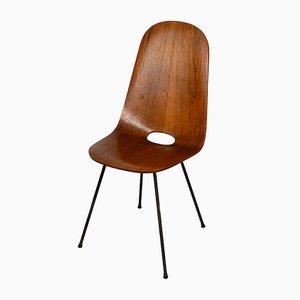 Chaise de Salon Mid-Century en Contreplaqué Teck et Contreplaqué par Vittorio Nobili, Italie, années 50