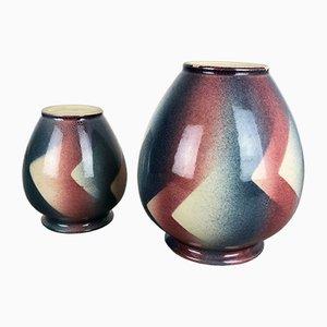Jarrones Bauhaus Mid-Century de Bay Keramik, años 50. Juego de 2