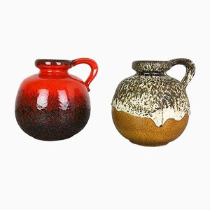 Vintage Fat Lava 484-21 Vases from Scheurich, 1970s, Set of 2