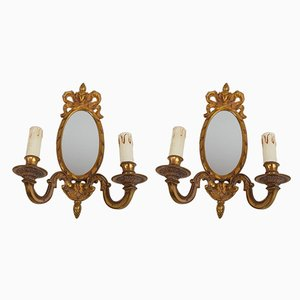 Vintage Gilded Bronze Sconces, Set of 2