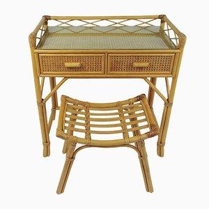 Juego de tocador y taburete vintage de bambú y ratán