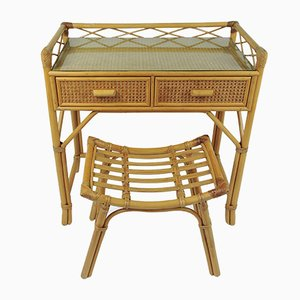 Vintage Bamboo and Rattan Dressing Table & Stool Set