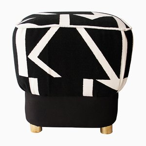 Mid-Century Italian Black and White Tribu Pouf by Pierre Frey