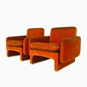 Velvet Space Age Lounge Chairs, 1960s, Set of 2