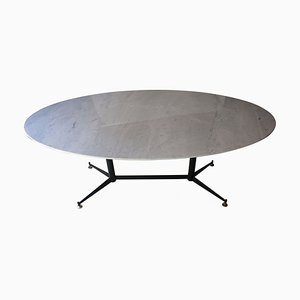 Mid-Century Green Oval Marble Dining Table