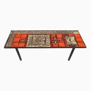 Table Basse Mid-Century en Céramique et Acier par JG Picard, France, années 50