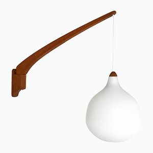 Teak and Opaline Glass Sconce by Uno & Östen Kristiansson for Luxus, 1950s