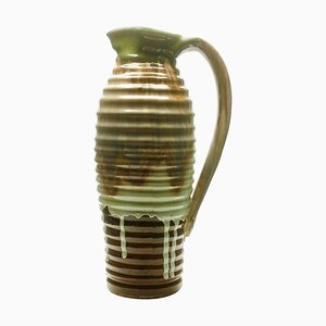 Brown and Green Ceramic Vase or Pitcher, 1930s