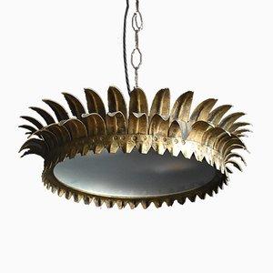 Mid-Century Spanish Gilded Metal Crown Lamp, 1950s