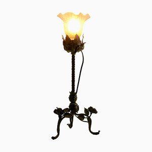 Art Nouveau Wrought Iron and Glass Table Lamp