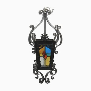 Antike französische Laterne aus Eisen & Farbglas