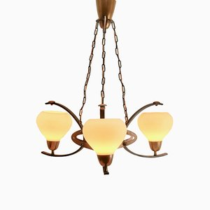 Arts & Crafts Style Copper and Iron Three Arm Chandelier, 1930s