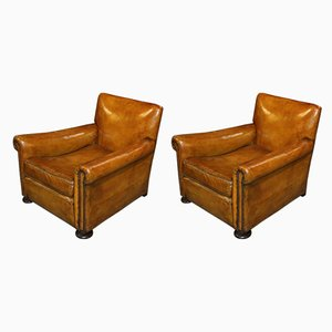 English Club Chairs, 1940s, Set of 2
