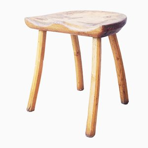 Sgabello in legno di Jean Touret per Marolles, anni '50
