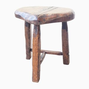 French Carved Oak Stool, 1950s