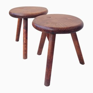 French Solid Wood Stools, 1960s, Set of 2