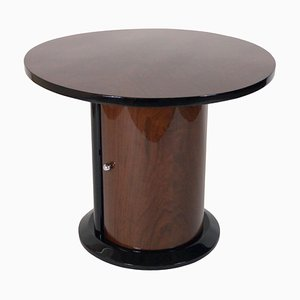 Round Walnut Veneer Side Table, 1930s