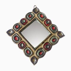 Spiegel mit Keramikrahmen von Isabelle Ferlay und Frederique Bourguet für Les Argonautes, 1960er
