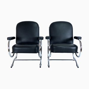 Curved Steel Tube Lounge Chairs, 1950s, Set of 2