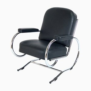 Curved Steel Tube Lounge Chair, 1950s
