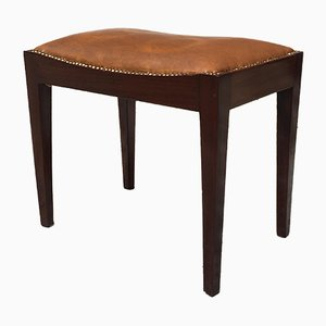 Italian Brown Leather and Rosewood Pouf, 1960s