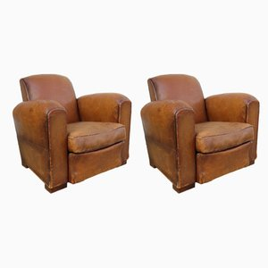 Vintage French Leather Club Chairs, 1920s, Set of 2