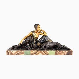Sculpture Panthère Art Déco en Marbre et en Métal par Armand Godard, années 30