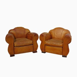 Art Deco French Leather Club Chairs, 1930s, Set of 2
