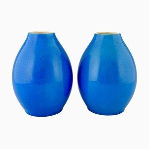 Vases Craquelés en Céramique Bleus par Charles Catteau pour Boch Frères, années 20, Set de 2
