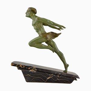 Escultura de atleta Art Déco de L. Valderi, años 30