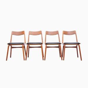 Chaises de Salon Boomerang en Teck par Alfred Christensen de Slagelse Møbelværk, années 60, Set de 4