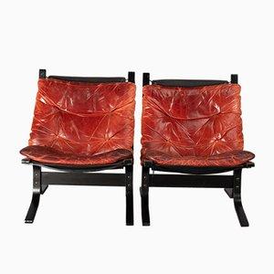 Poltrone Siesta in pelle rossa di Ingmar Relling per Westnofa, Norvegia, anni '60, set di 2