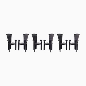 Black Dining Chairs by Pietro Constantini for Pietro Constantini, 1970s, Set of 6