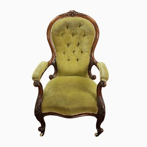 Mahogany Lounge Chair Chair with in Green
