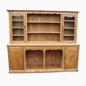 Large Antique Pine Dresser with Glass Doors