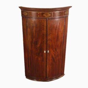 Antique Mahogany Double Bow Cupboard with Inlay