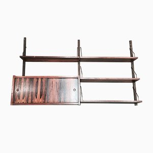 Scandinavian Modern Brass and Rosewood Shelf, 1950s