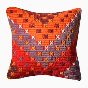 Burnt Orange Hand Embroidered Kilim Cushion Cover by Zencef Contemporary