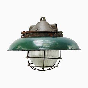 Lampada da soffitto vintage industriale in ghisa e vetro di Holophane, anni '50