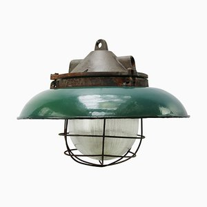 Plafonnier Industriel Vintage en Fonte et en Verre de Holophane, années 50