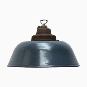 Dunkelblau emaillierte industrielle Vintage Deckenlampe aus Gusseisen, 1950er