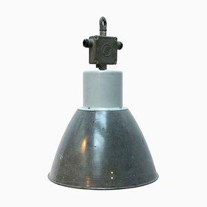 Grau emaillierte industrielle Vintage Deckenlampe aus Metall, 1950er