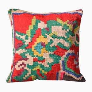 Funda de cojín Kilim floral en verde y rojo de Zencef Contemporary