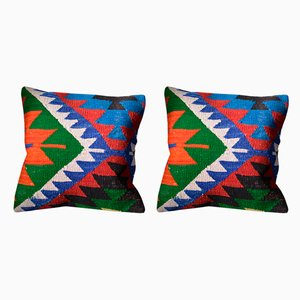 Wool Bohemian Kilim Cushion Covers by Zencef Contemporary, Set of 2