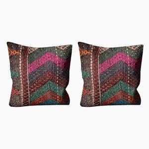 Mehrfarbige Bohmian Kelim Kissenbezüge aus Wolle von Zencef Contemporary, 2er Set