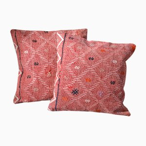 Pink Wool Bohemian Kilim Cushion Covers With Letters by Zencef Contemporary, Set of 2