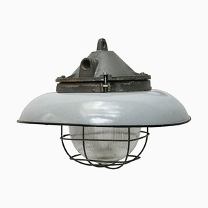 Vintage Industrial Grey Enamel and Cast Iron Ceiling Lamp from Holophane, 1950s