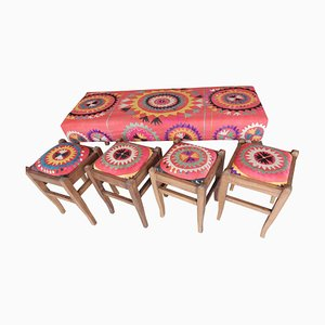 Anatolian Hand-Made Suzani Ottoman with 4 Footstools, 1980s