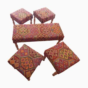 Turkish Bench and Footstools, 1980s, Set of 5